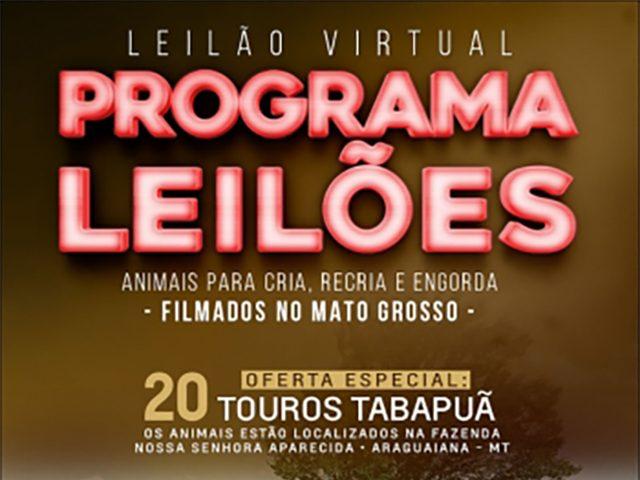 Leilão Virtual Programa Leilões – Reprodutores Tabapuã e Gado de Corte