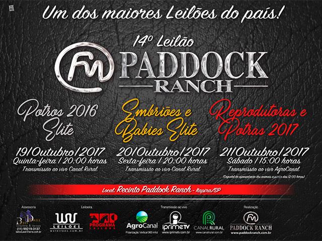 14º Leilão Paddock Ranch – Potros 2016 Elite